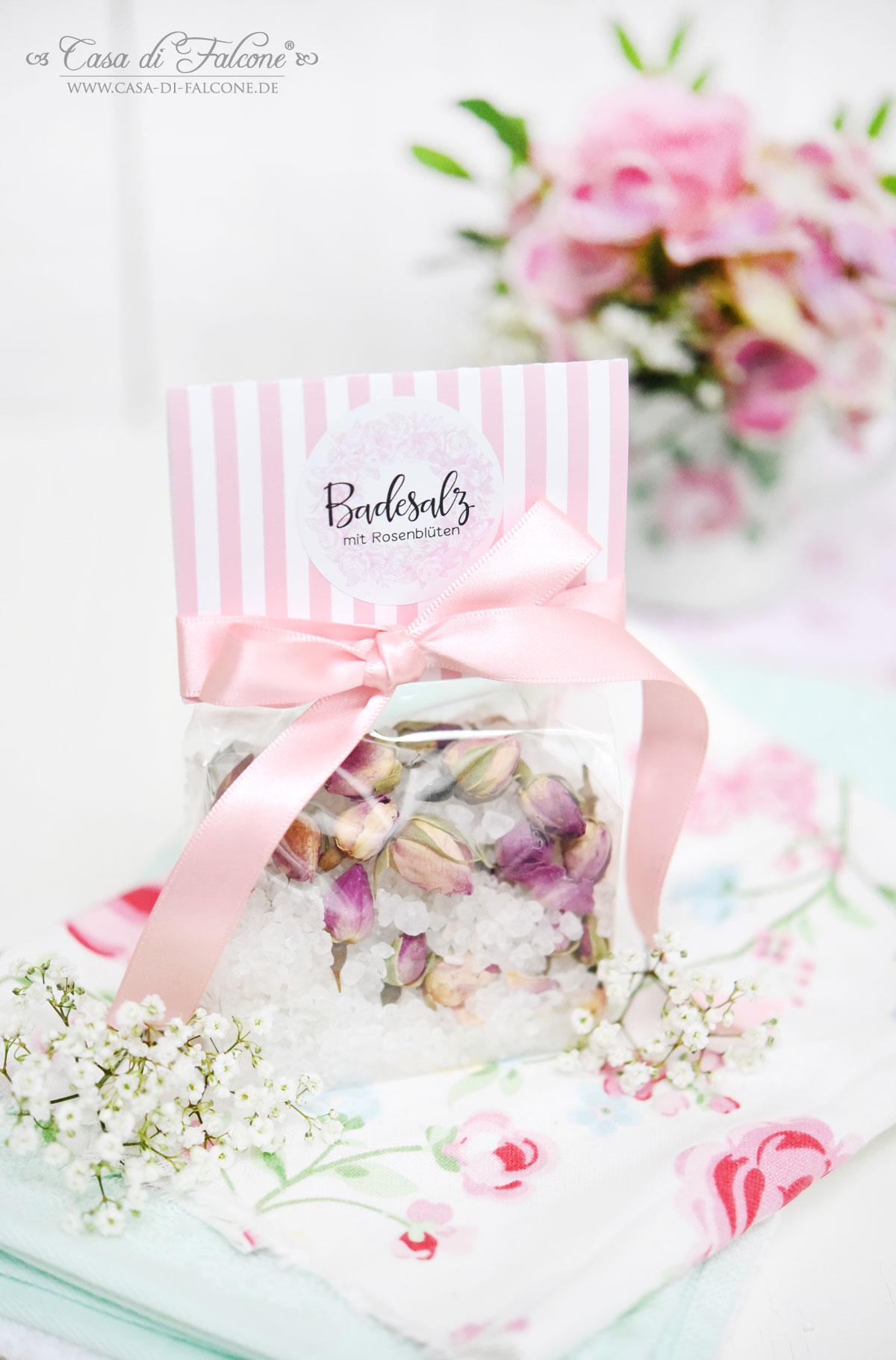 Badesalz mit Rosenblüten {Rezept} & 3 Verpackungsideen - Casa di Falcone