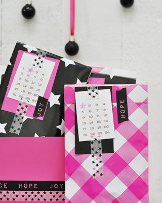Adventskalender No. 9 – pink, schwarz, weiss & Sterne