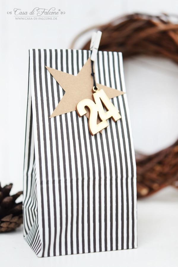 Adventskalendertüten schwarz-weiss I Geschenkanhänger Stern Kraftpapier I Holzzahlen