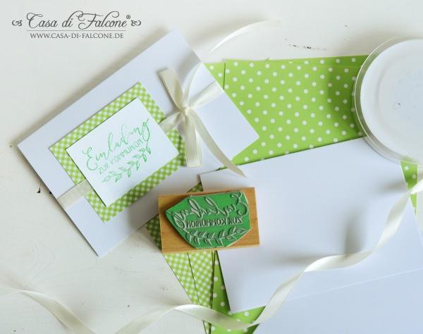 Ideen Kommunion I Stempel Einladungskarte grün