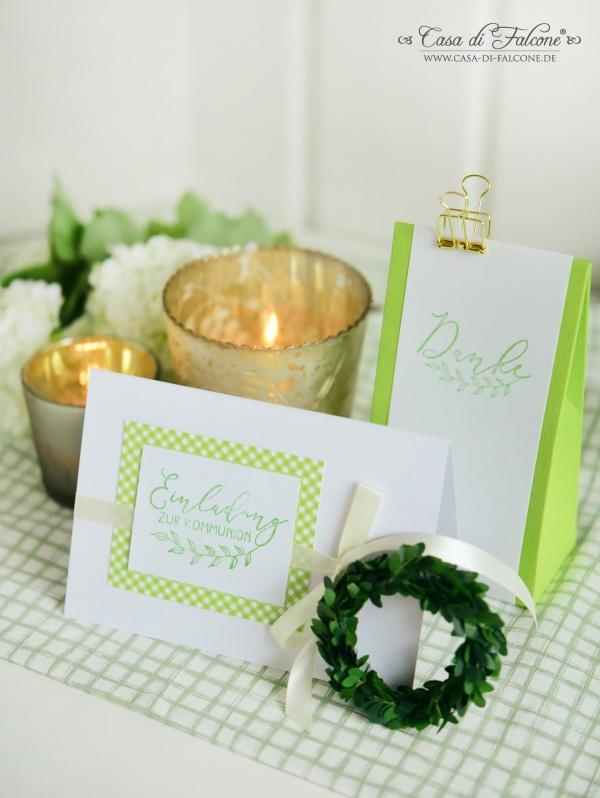 Ideen Kommunion I Einladungskarte Gastgeschenk grün